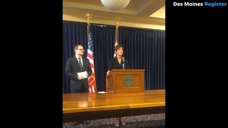 Iowa Gov. Kim Reynolds answers questions on reports of Senate Majority Leader Bill Dix kissing a female lobbyist in a Des Moines tavern.
