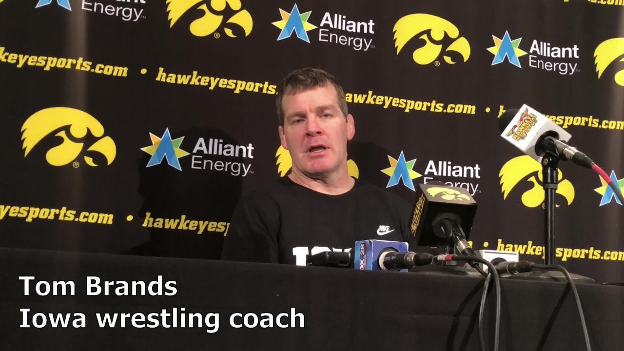 Iowa wrestling coach Tom Brands discusses Brandon Sorensen ahead of the 2018 NCAA Championships.