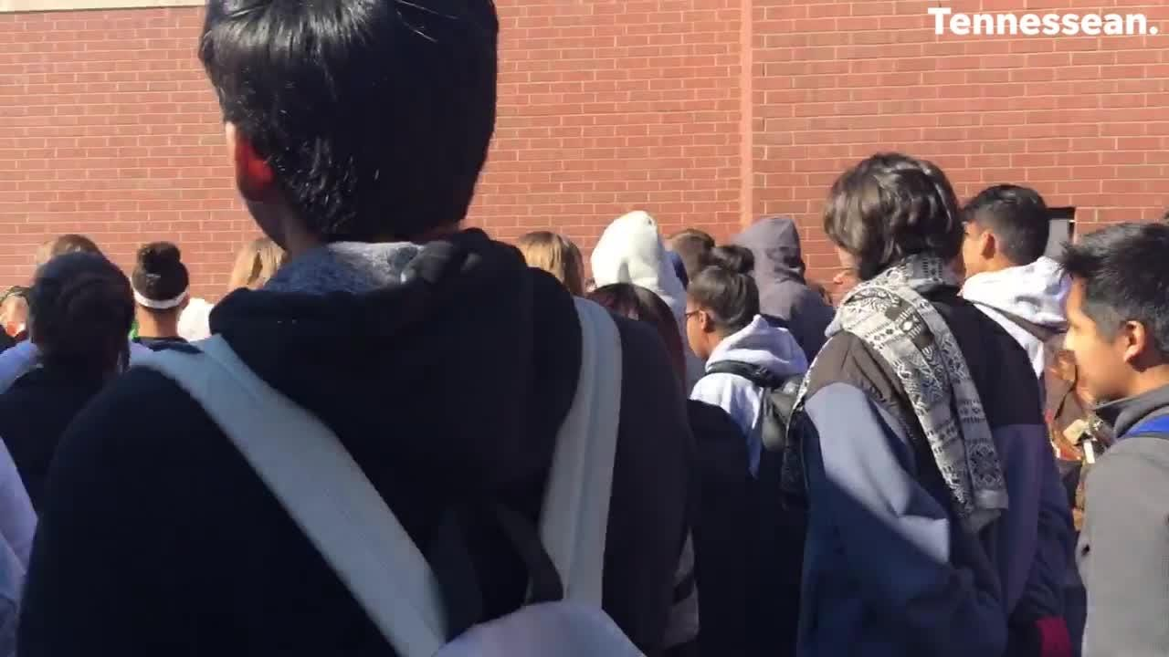 Students walkout for National Walkout Day at Centennial High School in Franklin, TN