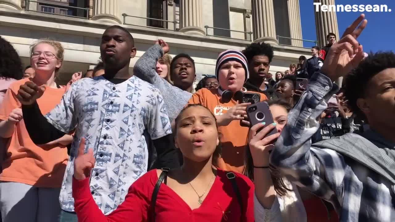 Students walkout on National Walkout Day from Hume-Fogg and go to the Tennessee capitol building