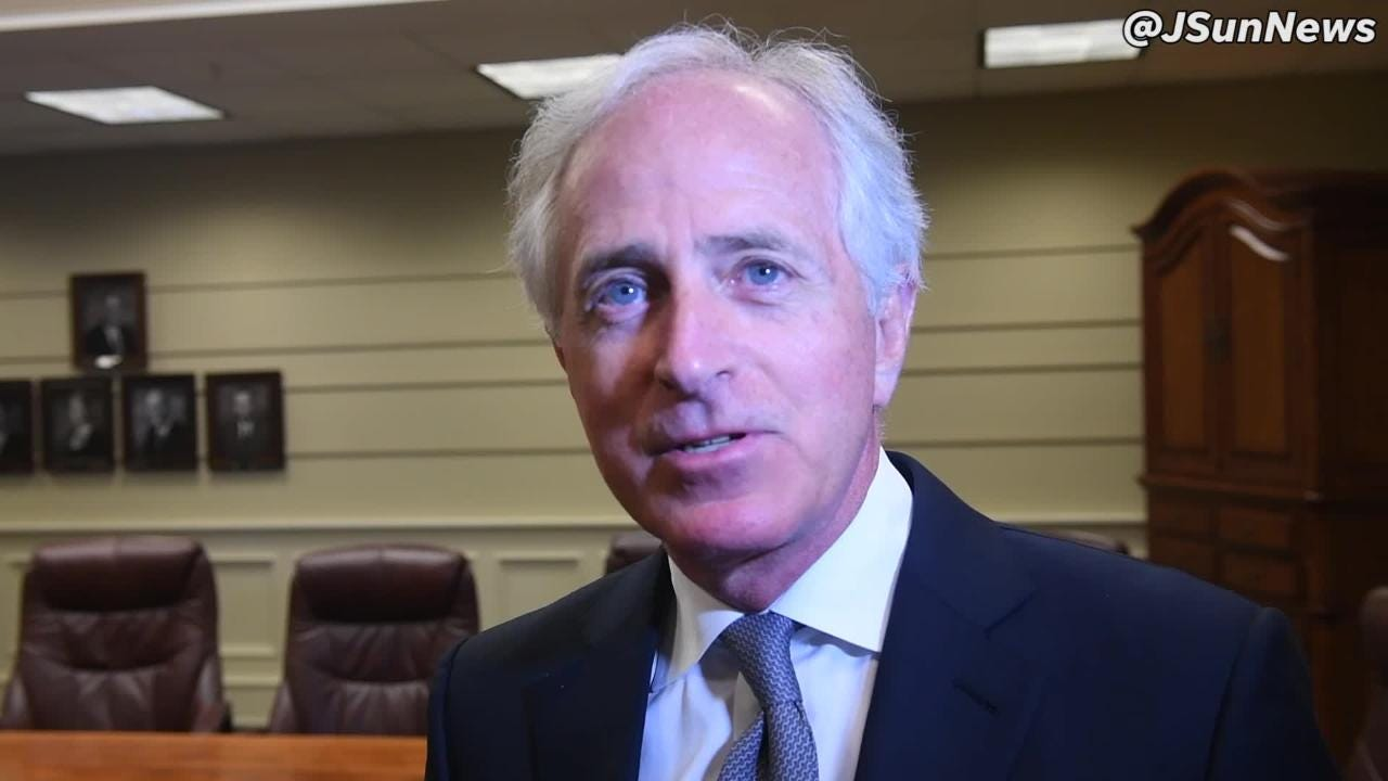 Senator Bob Corker talks about the legacy of Dr. Martin Luther King Jr. during a visit in Jackson on the 50th anniversary of King's assassination.
