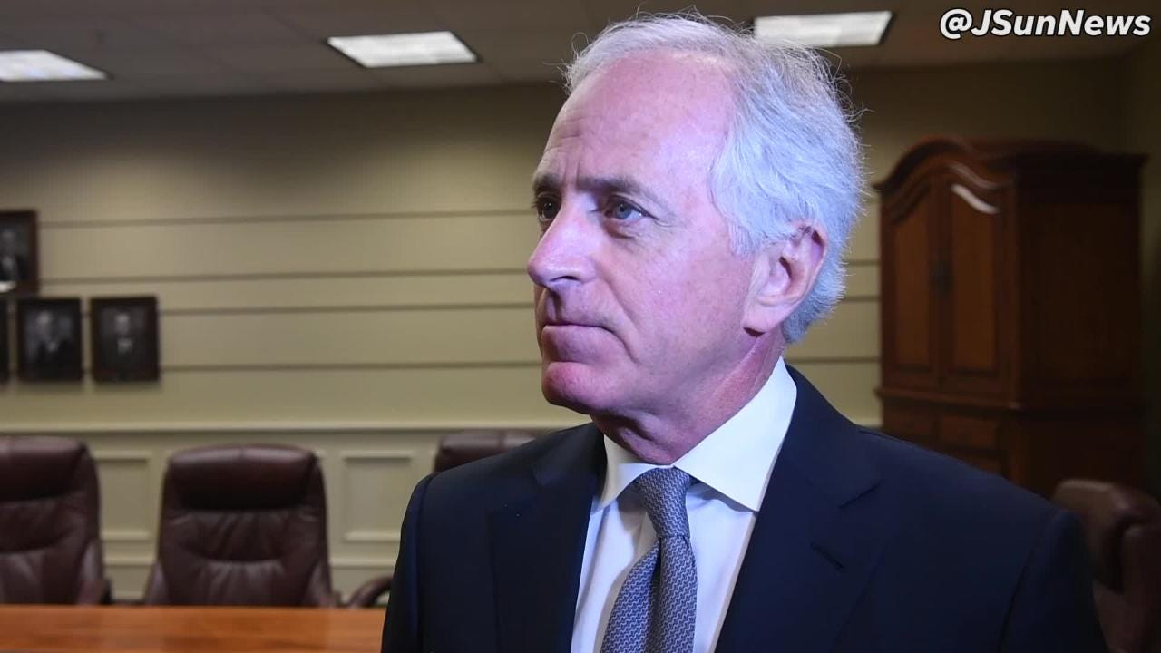 Senator Bob corker met with reporters and talked about tarrifs the Jackson Rotary Club meeting.