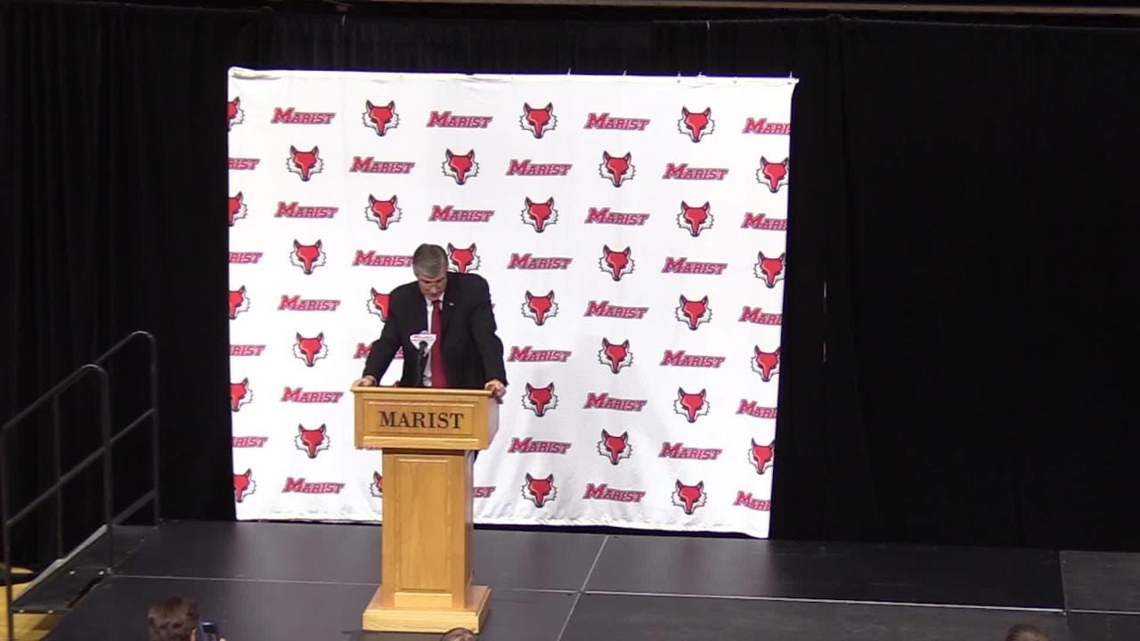 Marist College welcomes new men's basketball coach, John Dunne during Thursday's press conference.