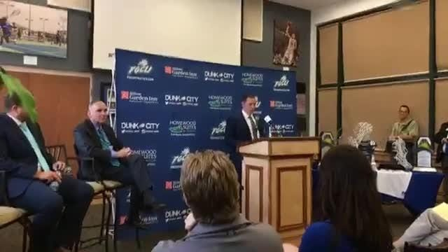 After Fly was announced as the newest FGCU men's basketball coach on April 5, 2018, he and his players participated in a Q & A session.