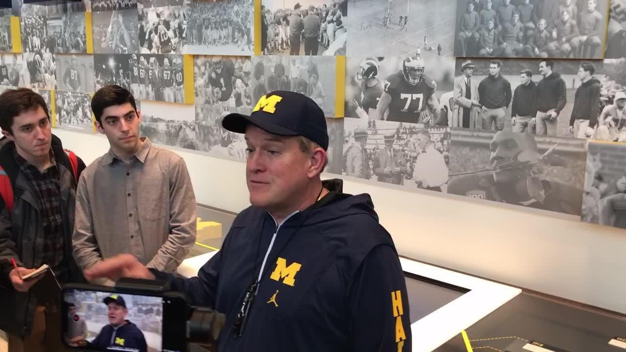 New Michigan offensive line coach Ed Warinner is in his first spring with the school.
