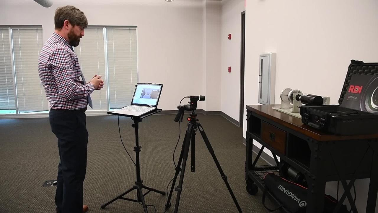RDI Technologies' CEO and founder Jeff Hay demonstrates the Iris M product