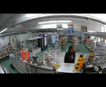 Security camera footage shows interactions between customers and the owner of the Easley Food Mart convenience store in Easley, South Carolina