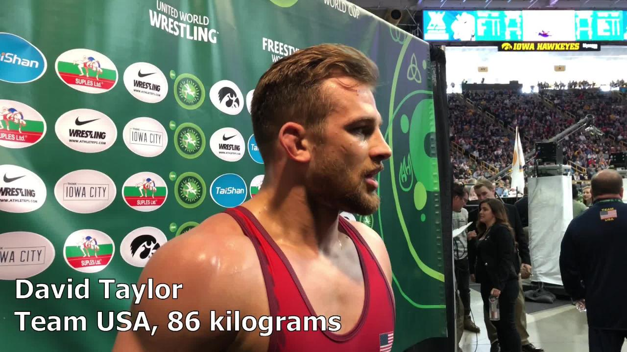 David Taylor, a two-time NCAA Champion at Penn State, discusses the crowd and Team USA after his first victory at the 2018 Wrestling World Cup.
