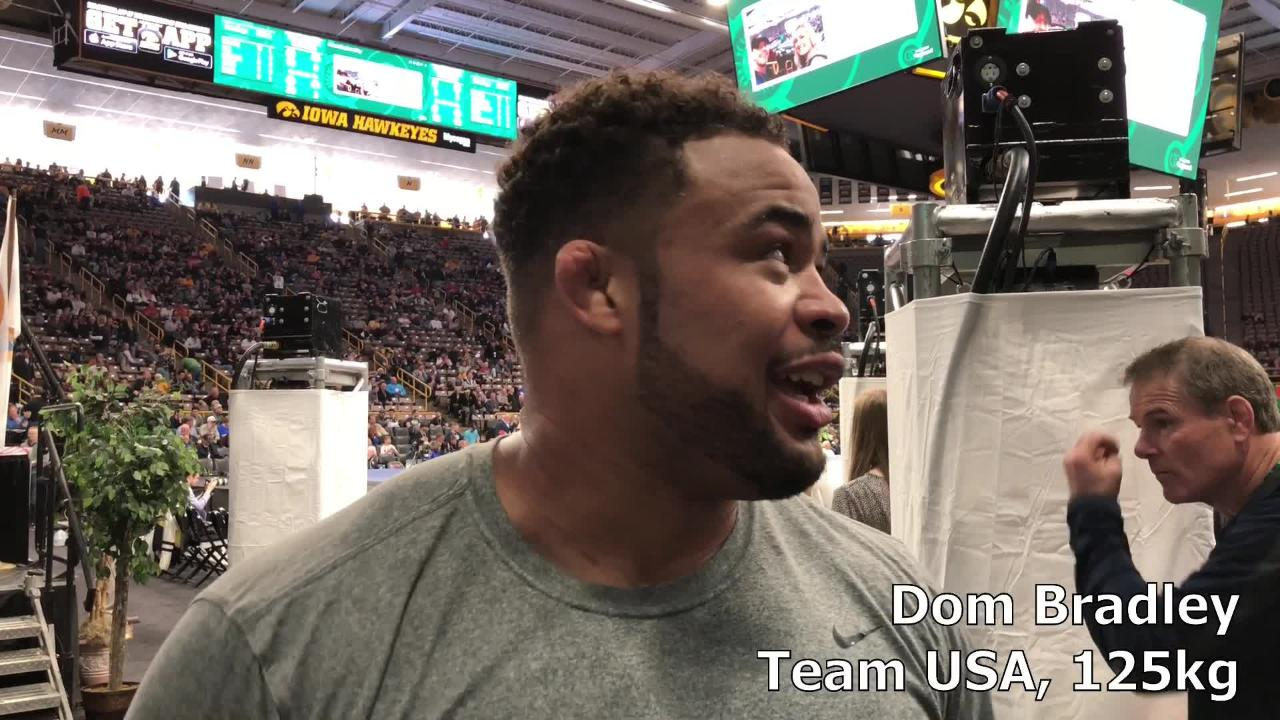 Dom Bradley, a former Missouri star and past Junior world champion, discusses the Carver-Hawkeye Arena crowd after his win against India.