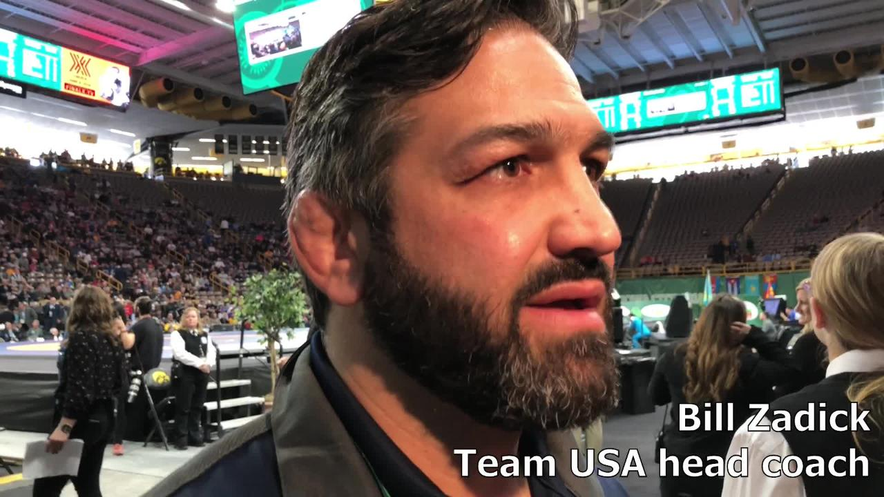 Bill Zadick, a former Iowa wrestler and Team USA's head coach, discusses his team's first victory at the Wrestling World Cup.