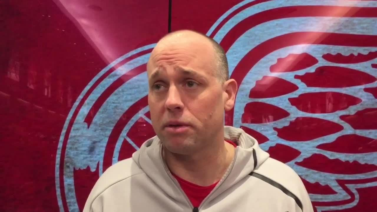 Detroit Red Wings coach Jeff Blashill answers questions on Saturday, April 7, 2018 at Little Caesars Arena. Video by Helene St. James/DFP