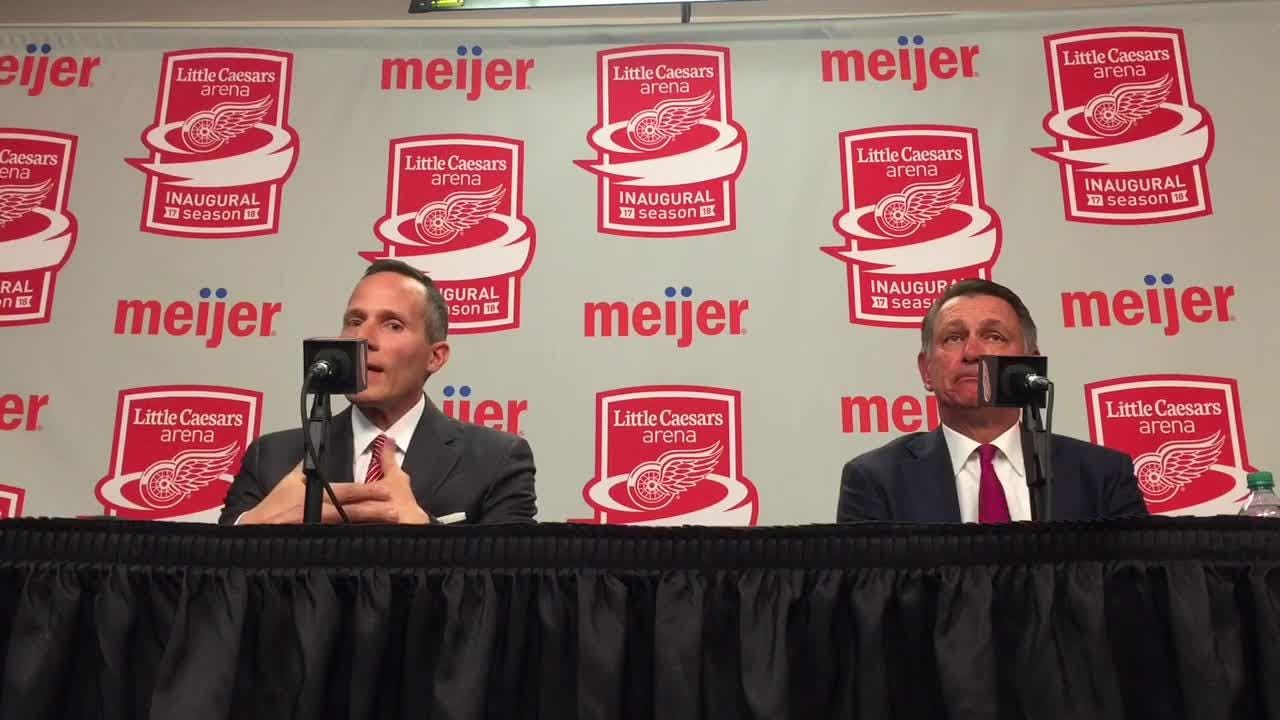 Detroit Red Wings president and CEO Chris Ilitch and general manager Ken Holland answer questions Saturday, April 7, 2018 at Little Caesars Arena.