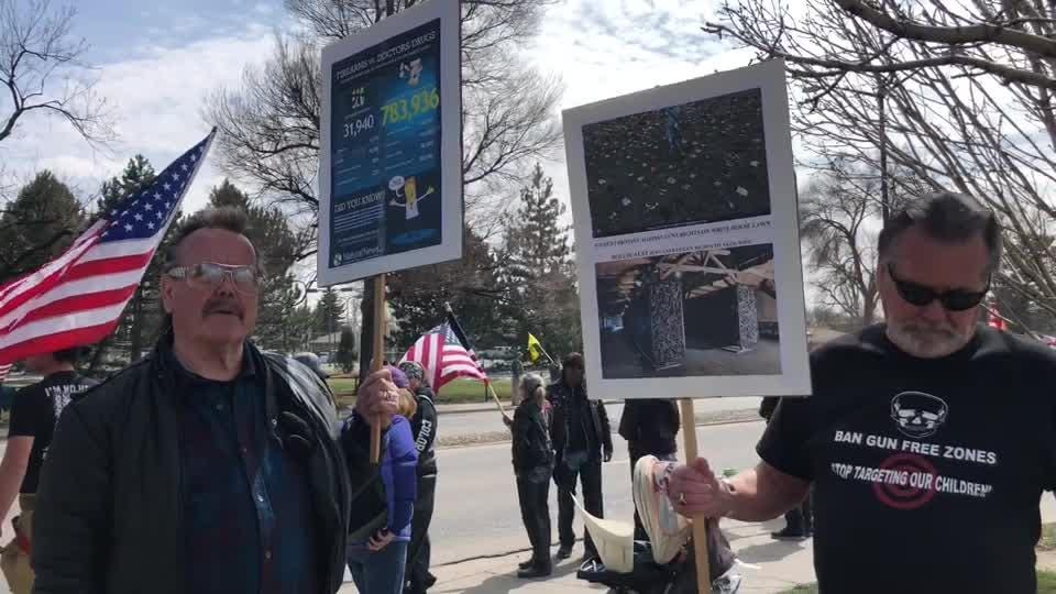 More than 300 people gathered near Lake Loveland on April 7, 2018, advocating for gun rights.
