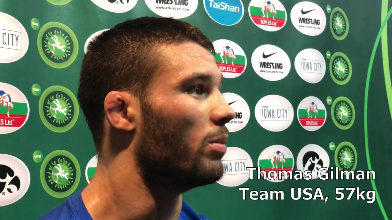 Thomas Gilman, Team USA's starter at 57 kilograms and a former Iowa star, discusses what worked well after his win over Georgia's Teimuraz Vanishvili.
