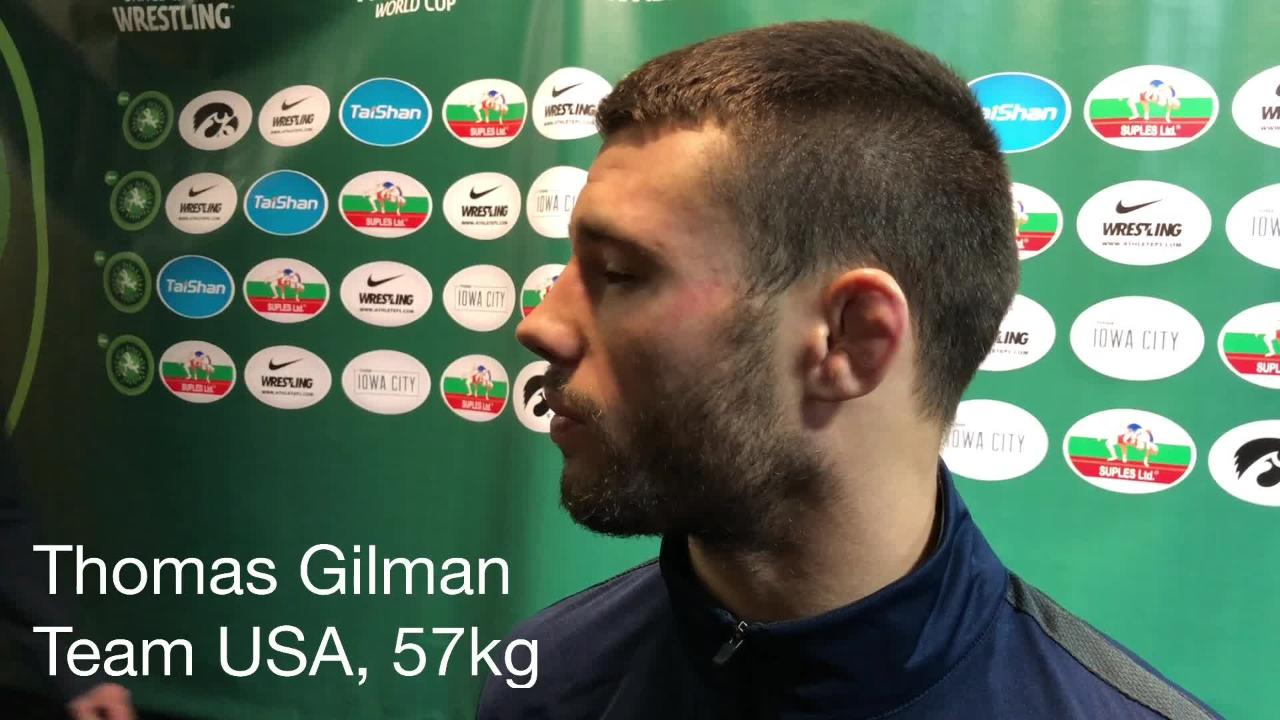 Thomas Gilman, a former Iowa wrestler and returning world silver medalist for Team USA, discusses the United States' World Cup title.