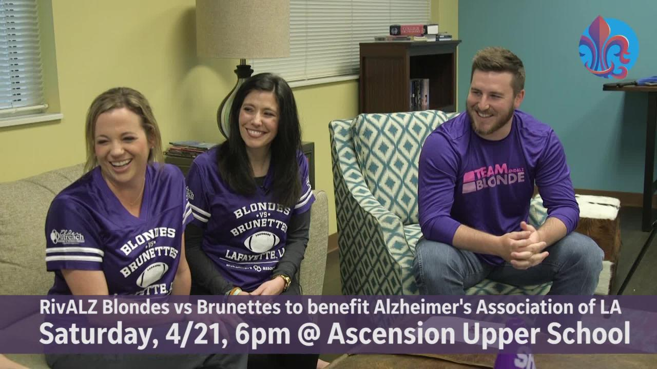Blondes will take on brunettes on April 21 in the Rivalz football game to benefit the Alzheimer's Association of Louisiana.