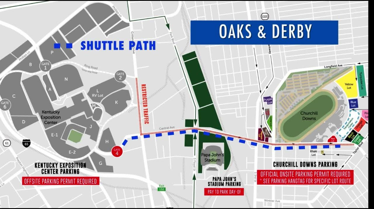 Where to park at Churchill Downs for Kentucky Derby week 2018