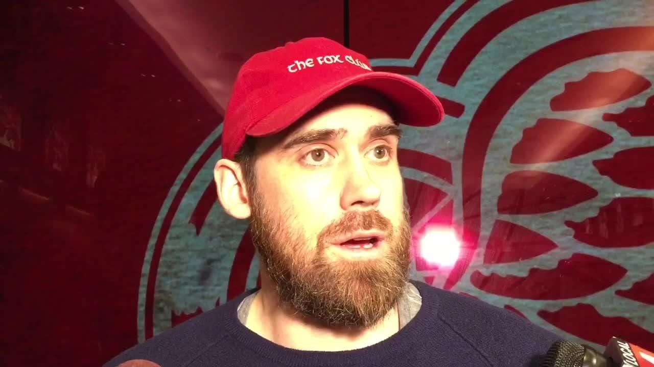 Detroit Red Wings captain Henrik Zetterberg answers questions about the team's poor season at Little Caesars Arena on Tuesday, April 10.