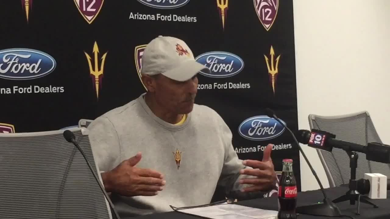 ASU football coach Herm Edwards discusses Tuesday's spring practice and his team's special teams.
