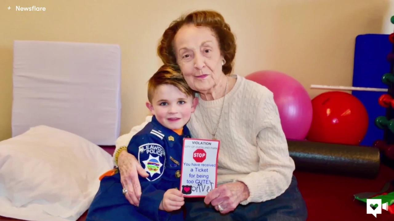 Kid cop is the favorite officer at this nursing home