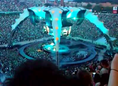 """U2 performed in 2011 at Spartan Stadium and wowed fans with """"The Claw."""" An aquarium recently bought one of the claw-like stage setups used on tour."""