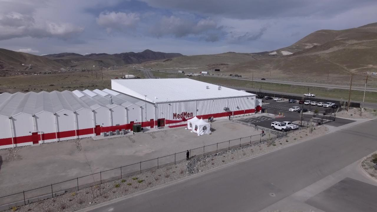A sky-high view of MedMen's high-tech, 45,000-square-foot cannabis factory just east of Reno recorder on April 11, 2018.
