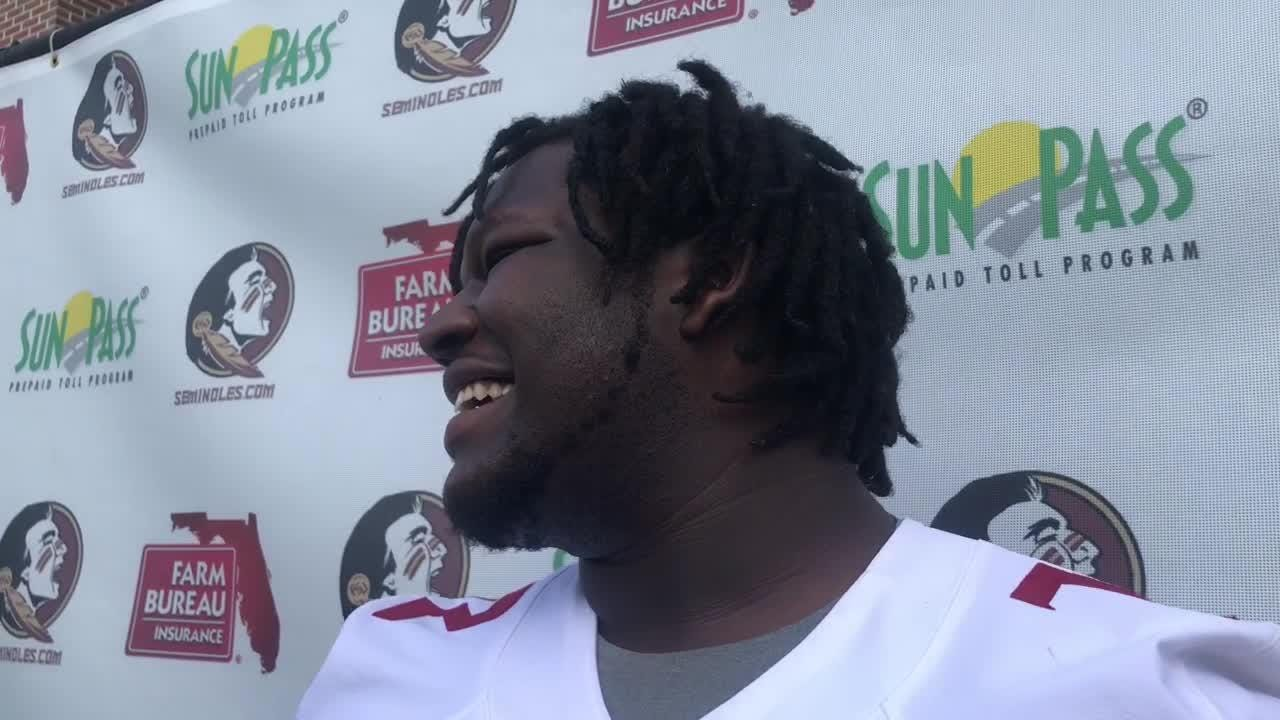 FSU offensive tackle Mike Arnold speaks to the media on Thursday, April 12.