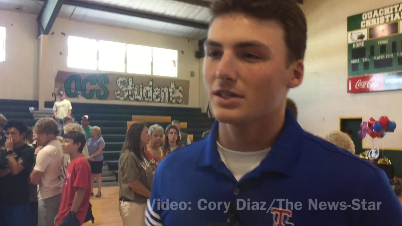 Ouachita Christian's Bryce Wallace describes feeling of signing with Louisiana Tech.
