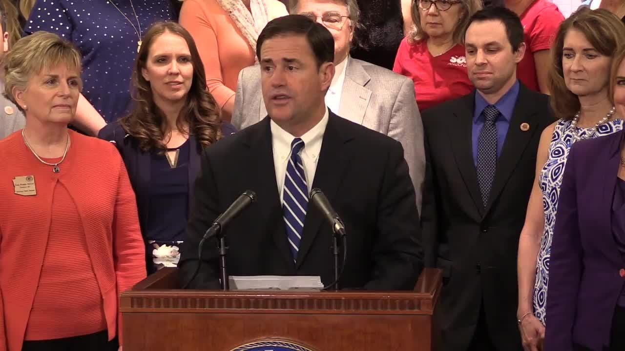 Gov. Doug Ducey announces on April 12, 2018, a new education-funding proposal that would give Arizona's teachers 9 percent pay raises this year.