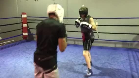 Zach Smith spars with former teammate JJ Mariano Thursday at Elite Boxing Gym.