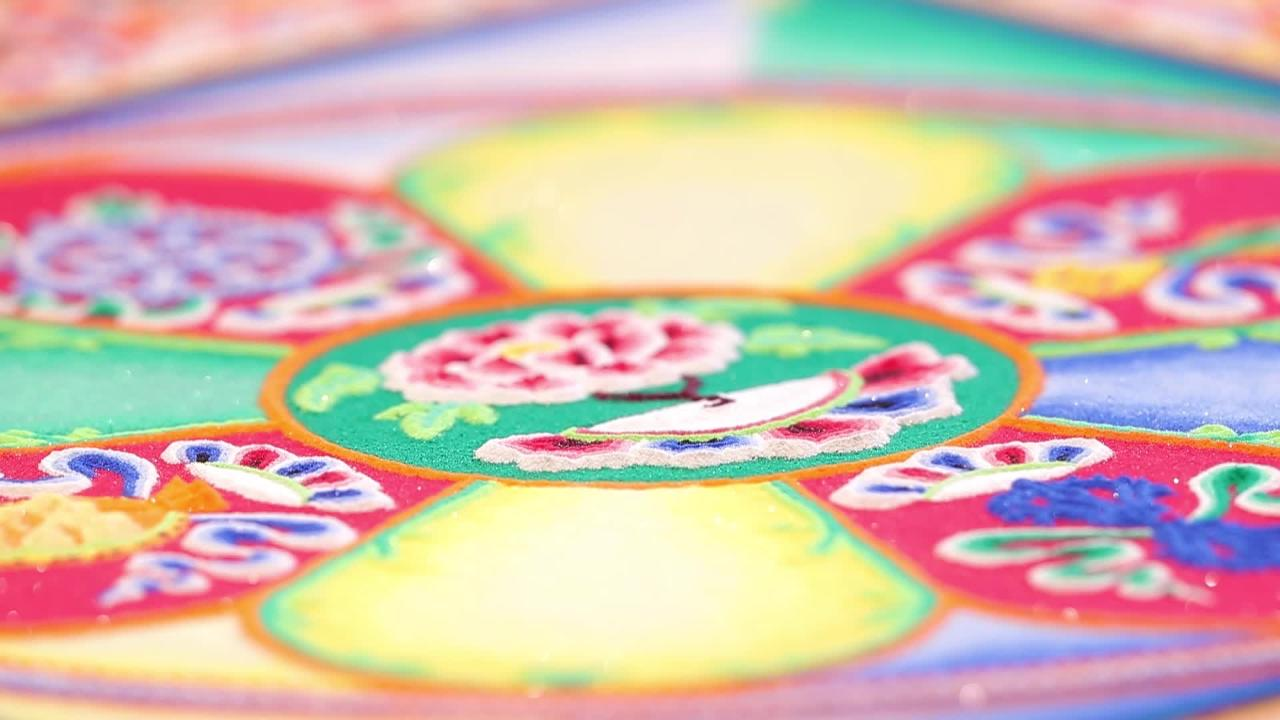 Tibetan Buddhist monks constructed a mandala sand painting April 9-13, 2018 at St. Norbert College in De Pere, Wis.
