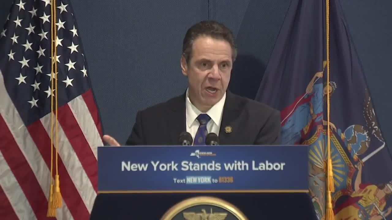 Gov. Andrew Cuomo spoke Thursday, April 13, 2018, at a union rally in Manhattan where he signed a bill to protect union dues.