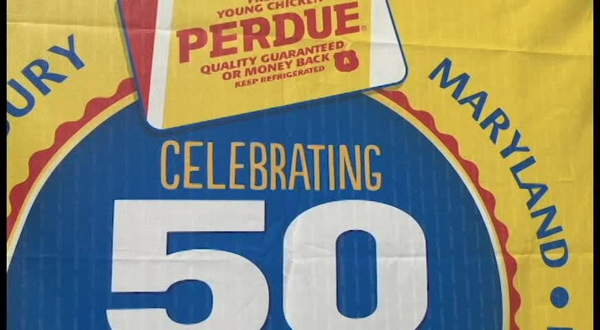 Perdue Farms commemorates 50th  anniversary of the Perdue brand at the Salisbury processing plant that produced the very first chickens in 1968.