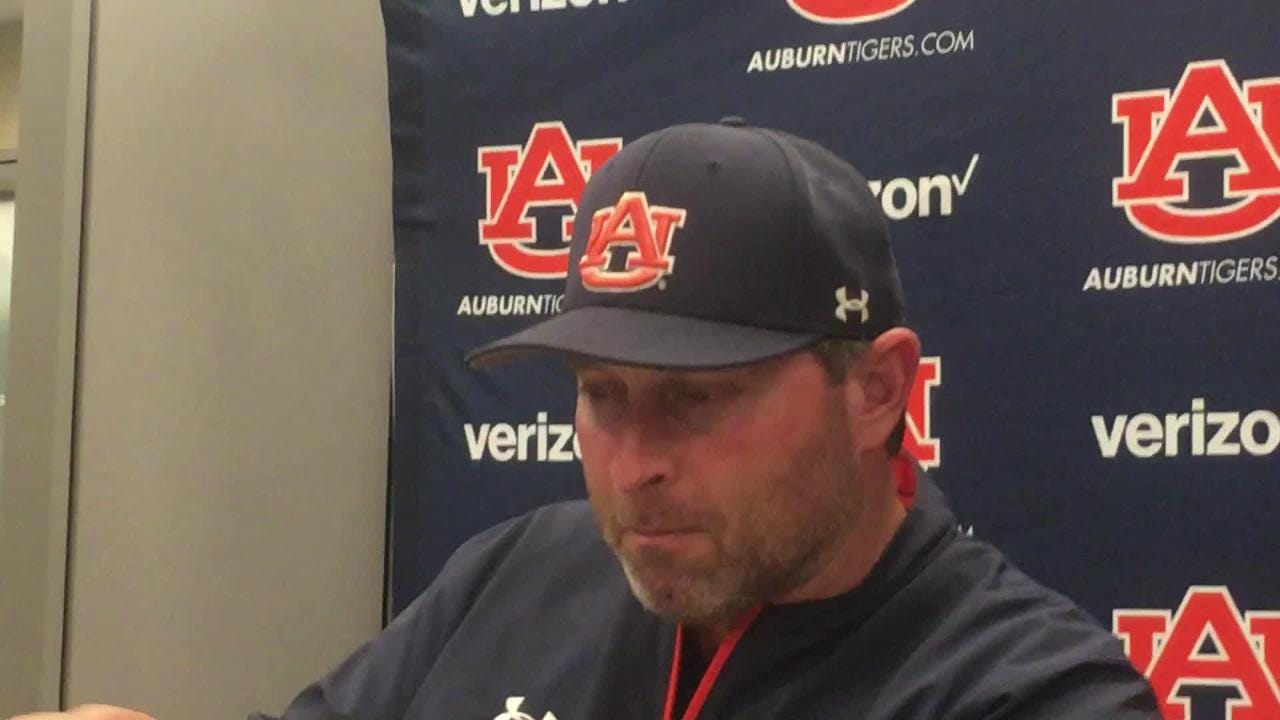 Auburn's Butch Thompson talks to reporters after 2-1 win over Mississippi State on April 13, 2018.