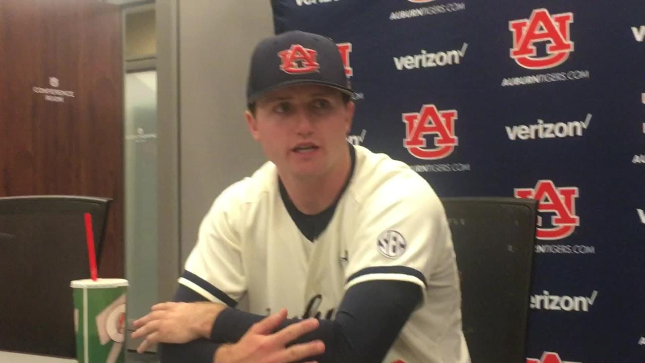 Auburn RHP Casey Mize talks to reporters after CG win vs. Mississippi State