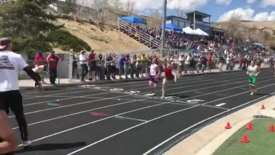 The finish of the boys 3000-meter race  Saturday at McQueen.Montana Montgomery from Truckee won in 9:24.89, Daniel Horner from Spanish Springs was second in 9.24.90.