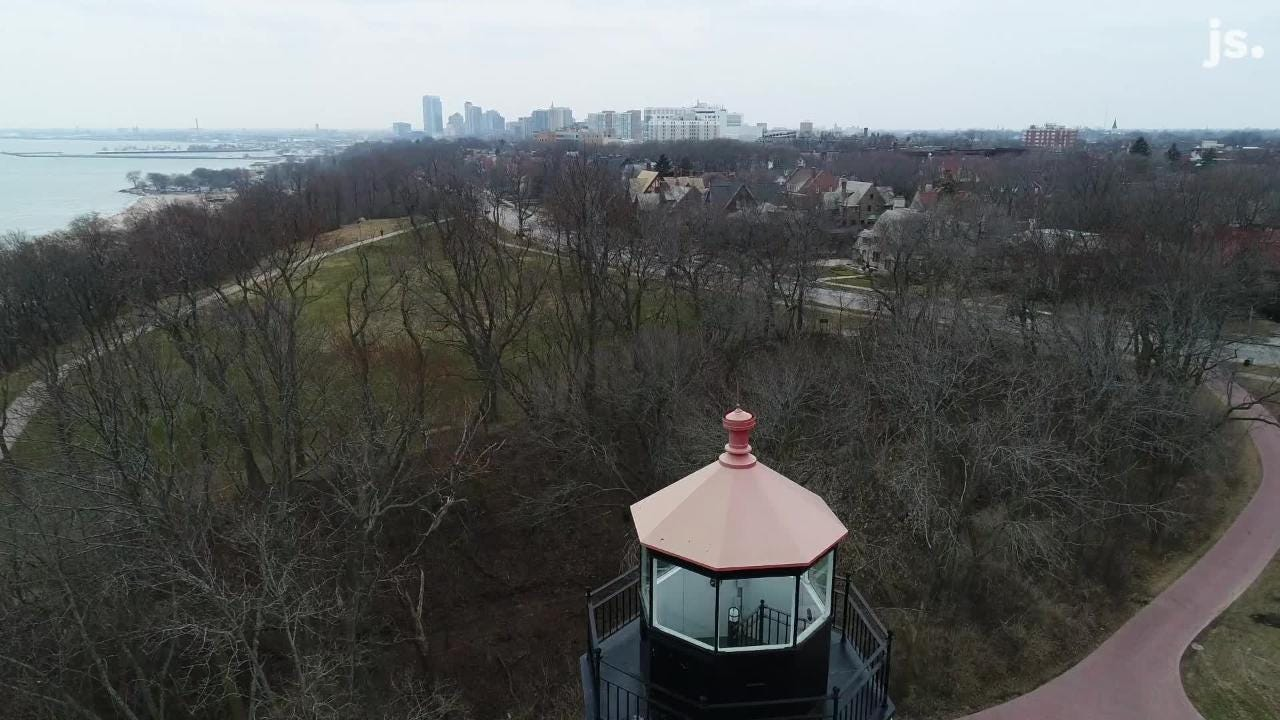 Drone view of the North Point Lighthouse