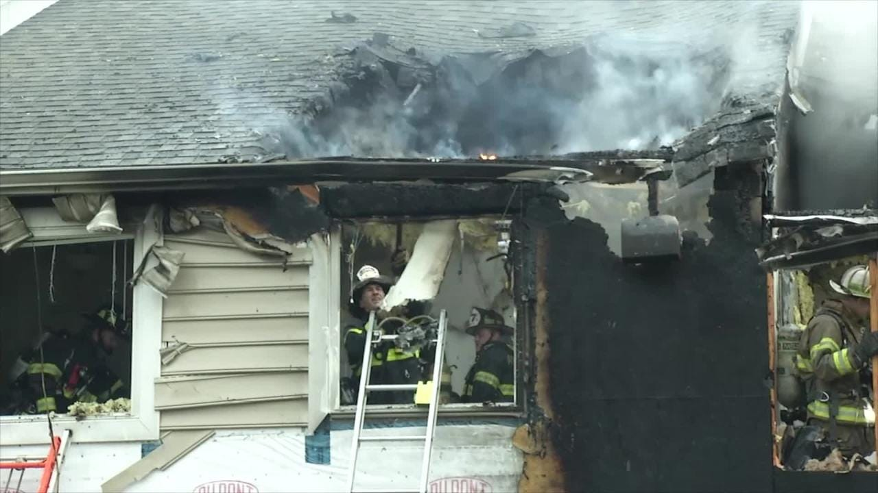 Raw Video: Fire at Claymont Apartments