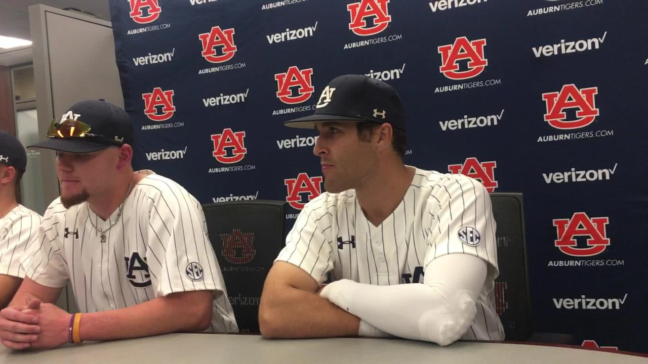 Auburn players (From L-R: Ward, Greenhill, Venter) after 7-5 win over Mississippi State.