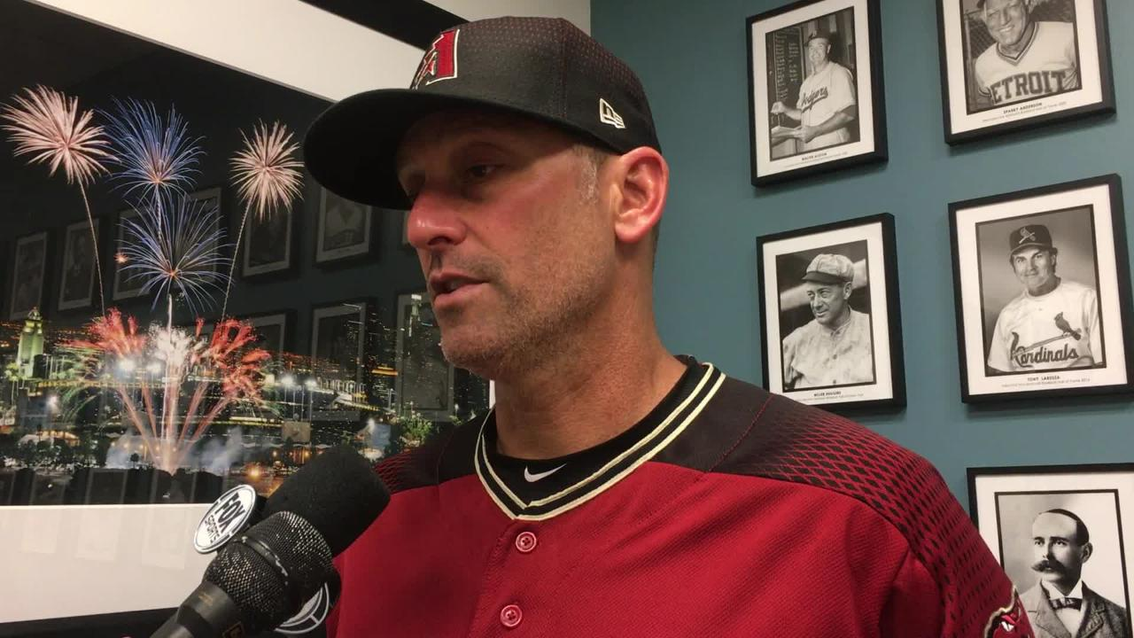 Diamondbacks manager Torey Lovullo talks about Zack Godley's struggles in a loss to the Dodgers on Sunday.