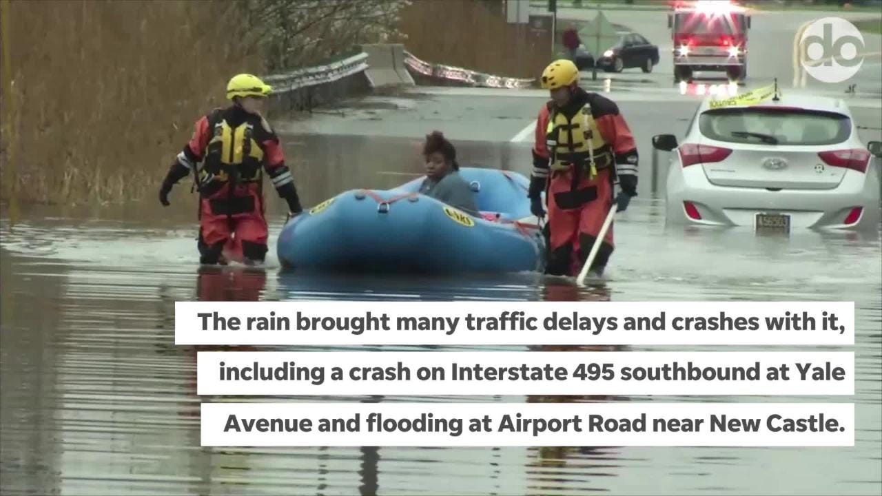 Monday saw a monsoon-start to the work week, delaying travelers en route to work while dumping heavy ran in most of Delaware.