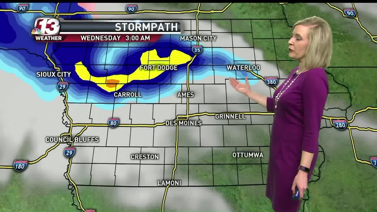 The forecast calls for more snow in northern Iowa on Wednesday, with the possibility of up to 12 inches in some parts. The Des Moines metro may see some drizzle.