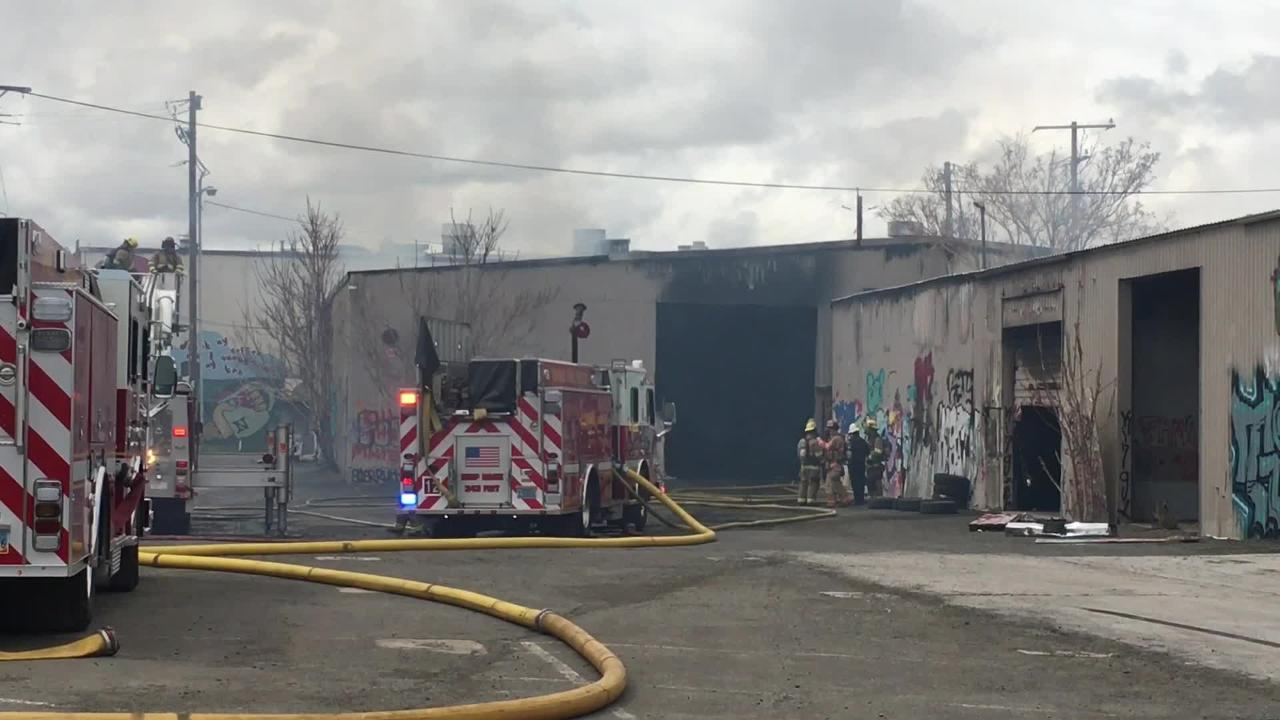 Sparks crews were working to put out a fire Monday afternoon at 555 Dermody Way off Glendale Avenue.