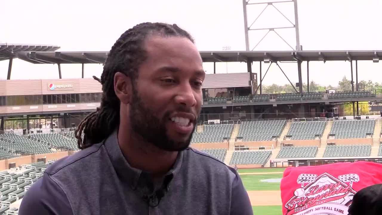 Arizona Cardinals wide receiver Larry Fitzgerald talks about the 8th Annual Larry Fitzgerald Double Play Celebrity Softball game, Saturday, April 21, at Salt River Fields.