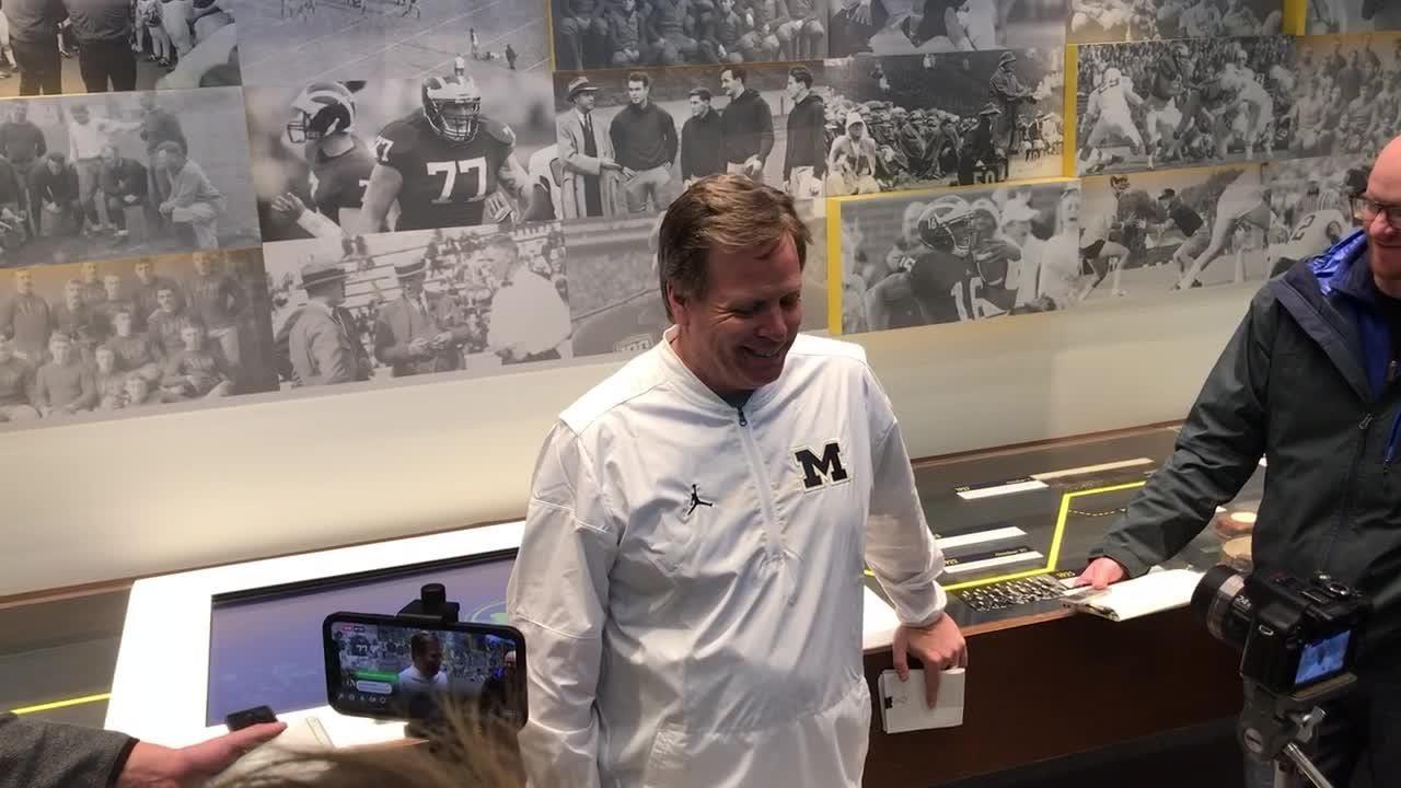 Michigan wide receivers coach Jim McElwain talks spring football Monday, April 16.