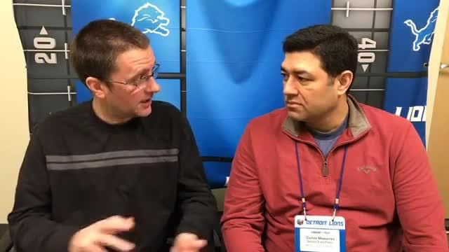 Detroit Free Press sports writers Dave Birkett and Carlos Monarrez talk all things Detroit Lions on Tuesday, April 17, 2018, in Allen Park.