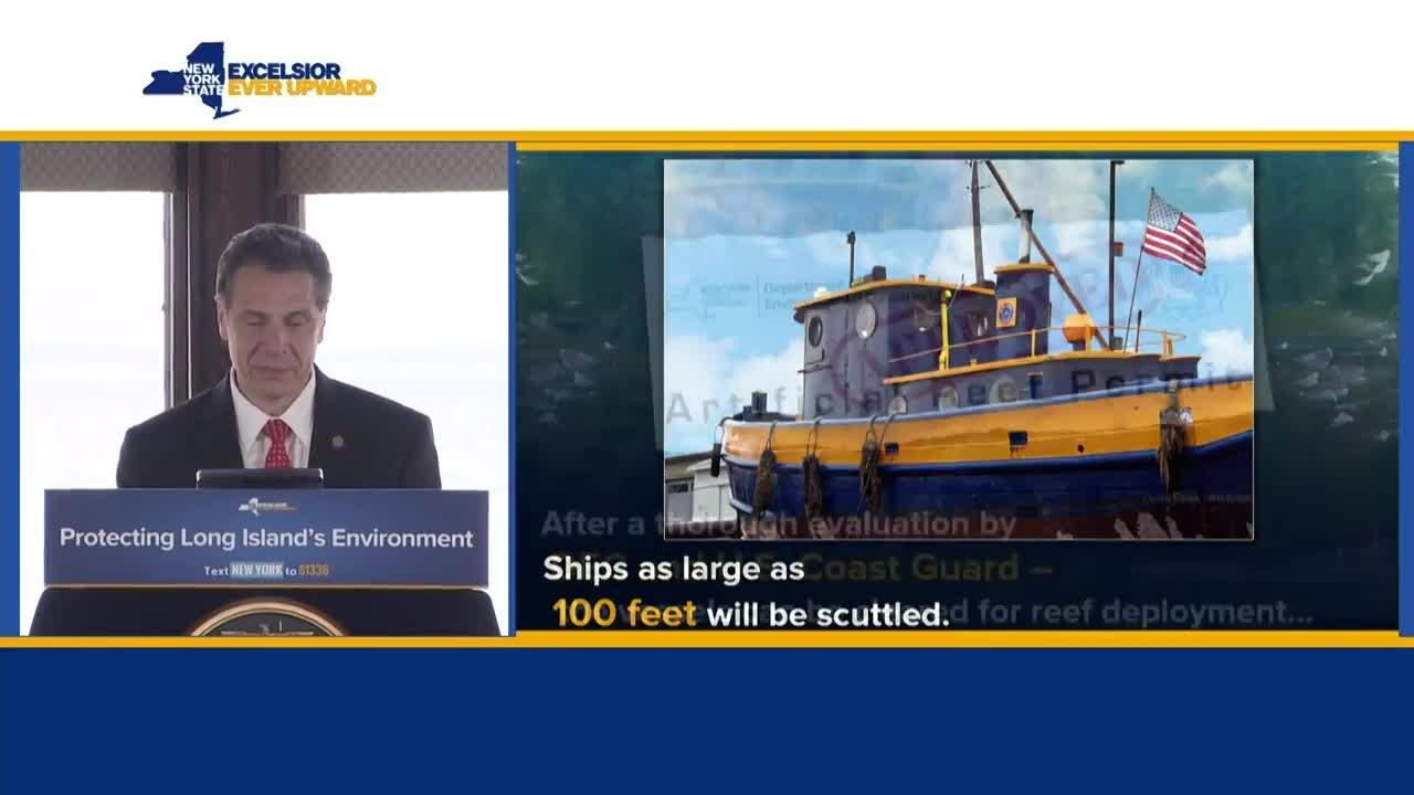 Gov. Andrew Cuomo spoke Tuesday, April 17, 2018, on Long Island to announce plans to use portions of the old Tappan Zee Bridge for reefs off the coast