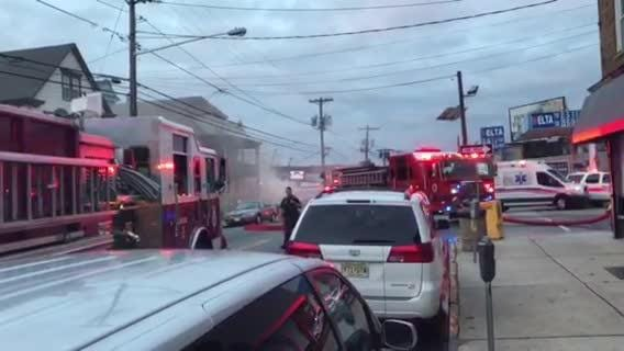 Firefighters are battling a blaze at the King of Delancey deli on Main Avenue in Passaic.