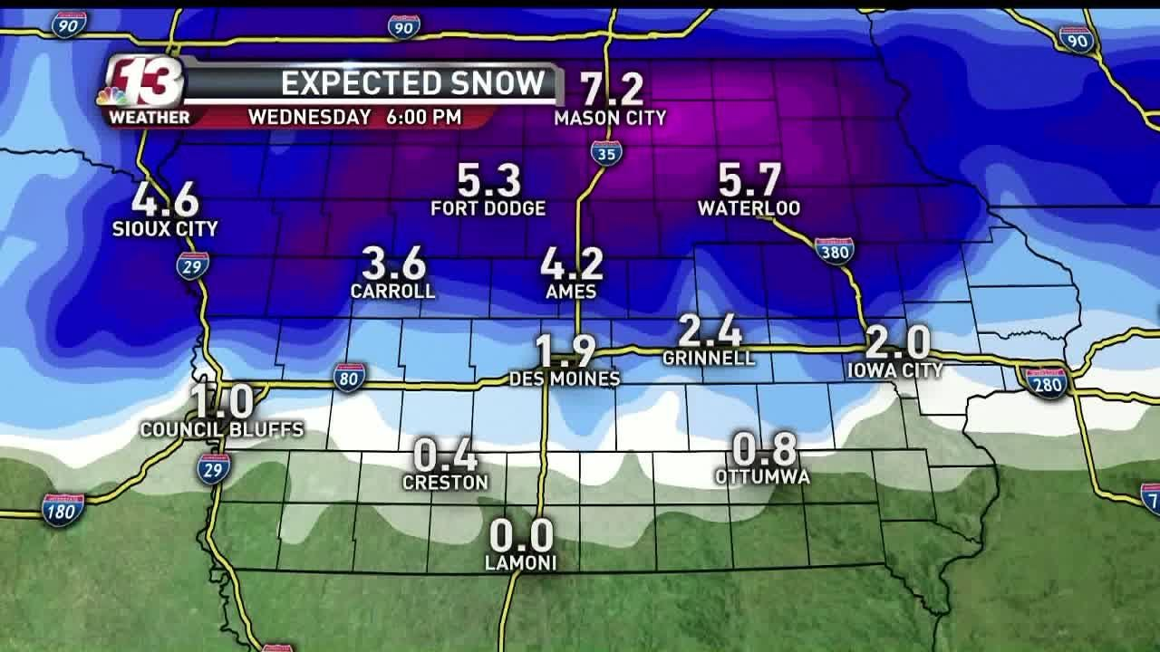 Wednesday's forecast calls for snow across much of Iowa with more than 7 inches expected in the northern part of the state. High of 35 and low of 29.