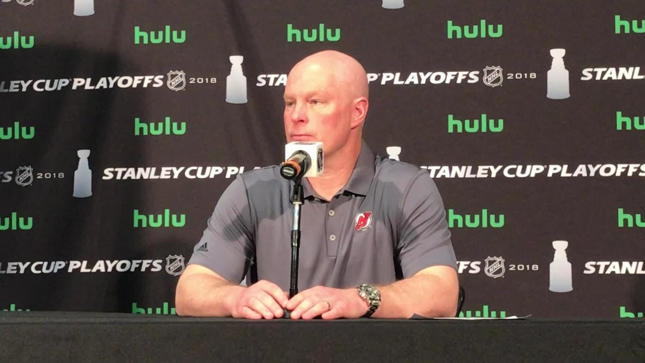 Devils' coach John Hynes talks about the increasing level of physicality in the Eastern Conference quarterfinal series against the Lightning.